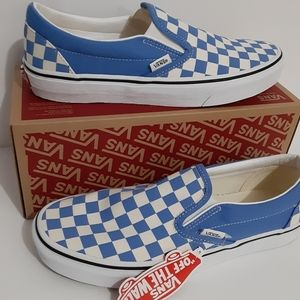 Vans Classic Slip-On Shoes Blue Checkerboard Mens